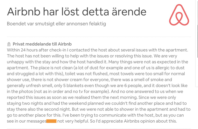 dålig airbnb-upplevelse