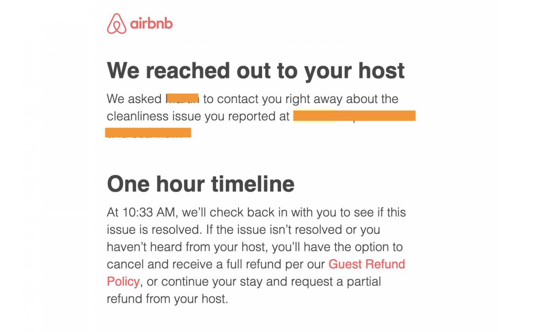 dålig Airbnb upplevelse - kontakt med Airbnb