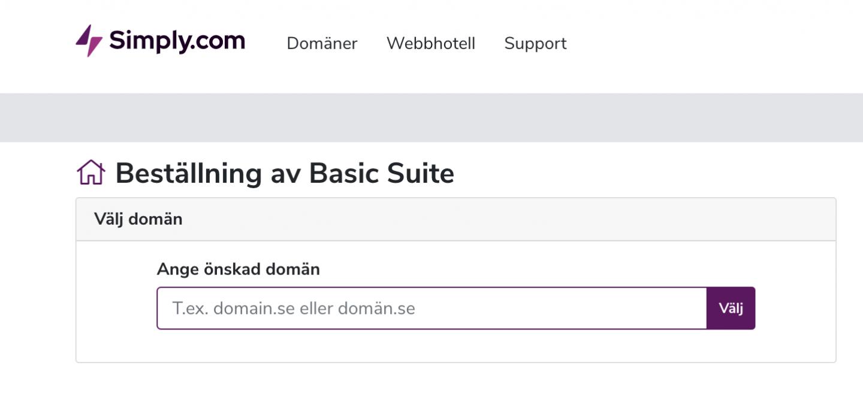 beställ webbhotell – basic suite paket